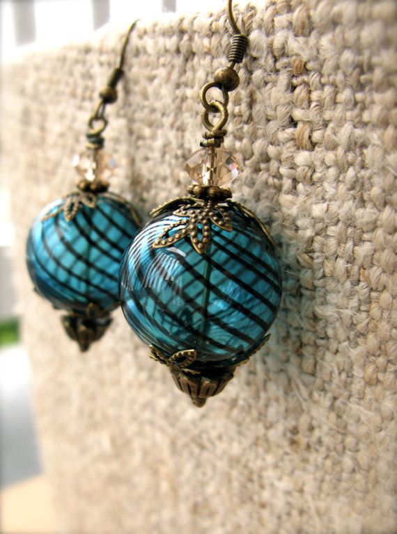 aqua striped hollow hand blown glass and brass by vcarolcreations, $13.00