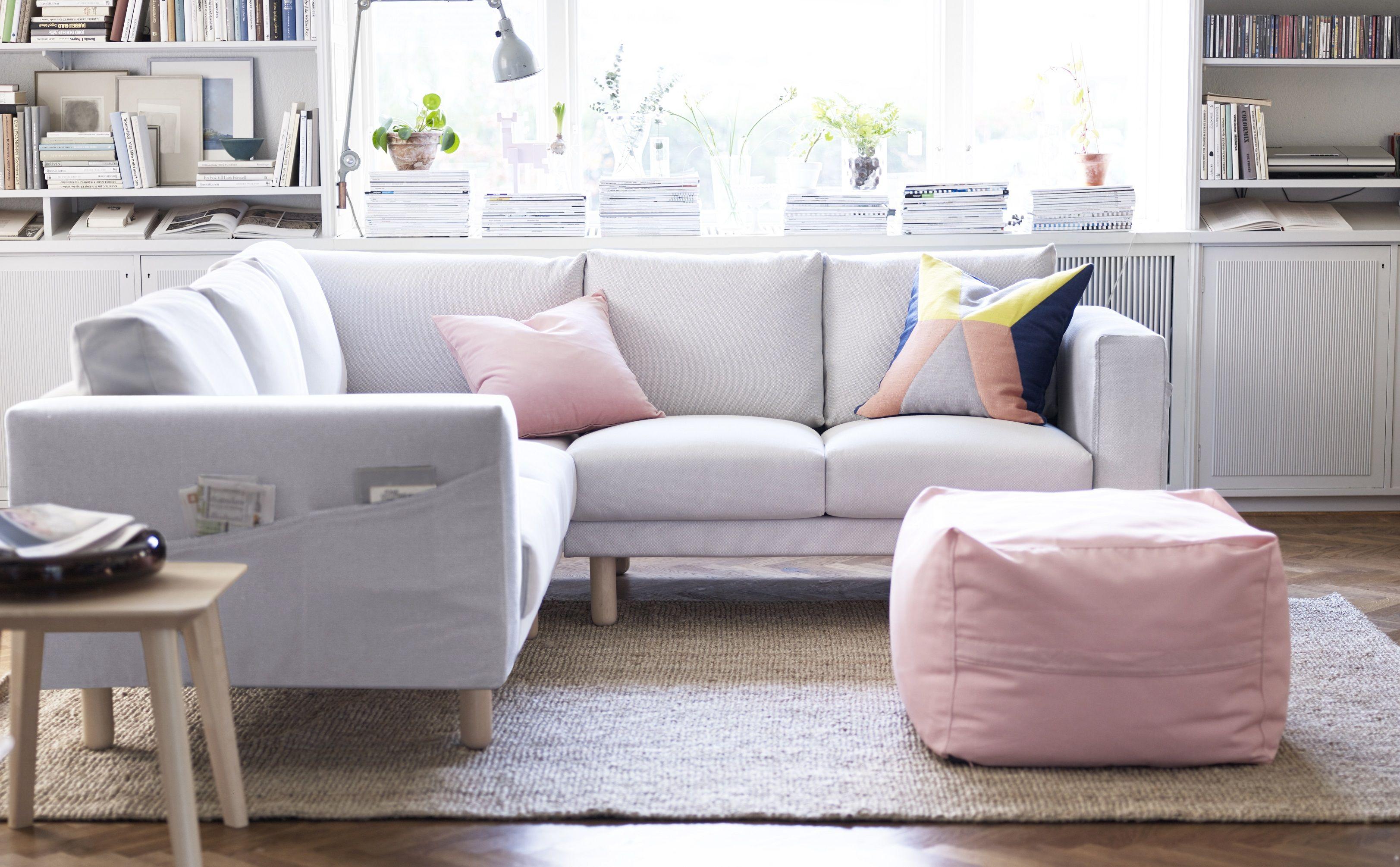 Ikea Woonkamer Hoekbanken : Norsborg hoekbank ikea ikeanl bank wit zijvak pastel