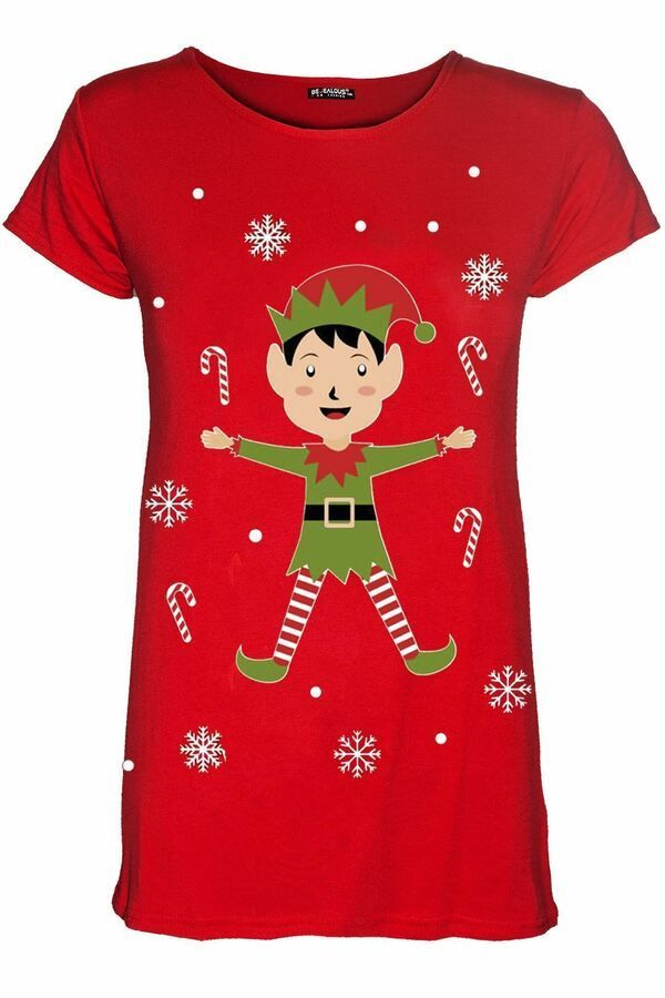 Womens Ladies Novelty Christmas Present Reindeer Red Nose Vintage T Shirt Top