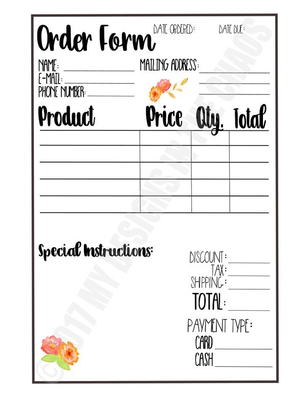 order form svg  Printable Order Form | Order form, Printables, Design