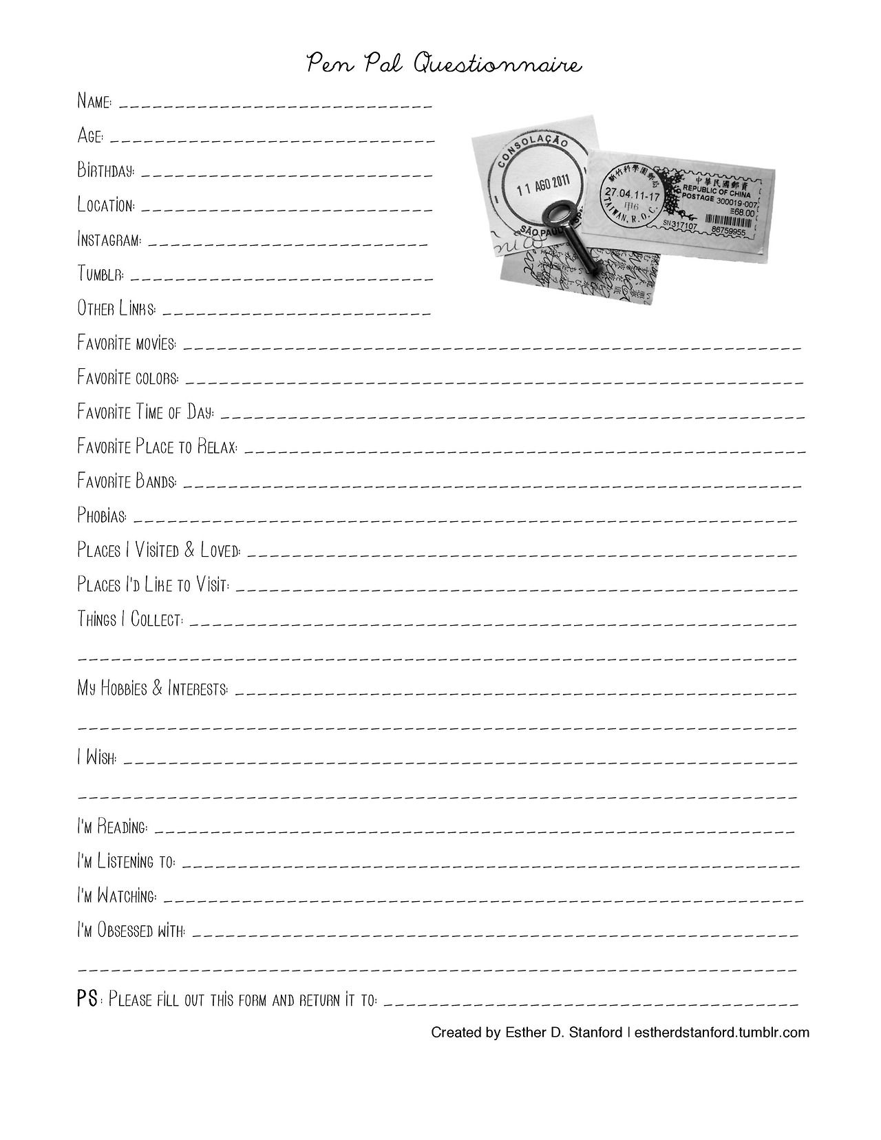 Pen Pal Questionnaire