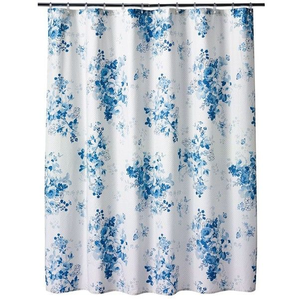 lc lauren conrad forget me not fabric shower curtain ($50
