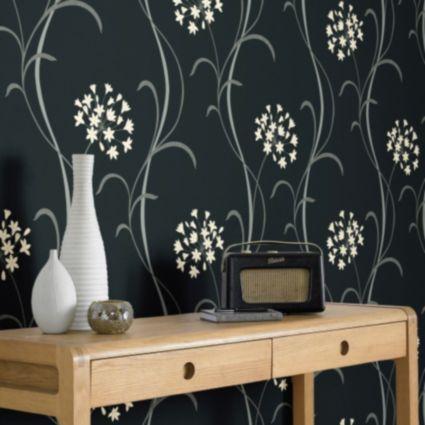 Arthouse opera mia black floral wallpaper departments diy at bq
