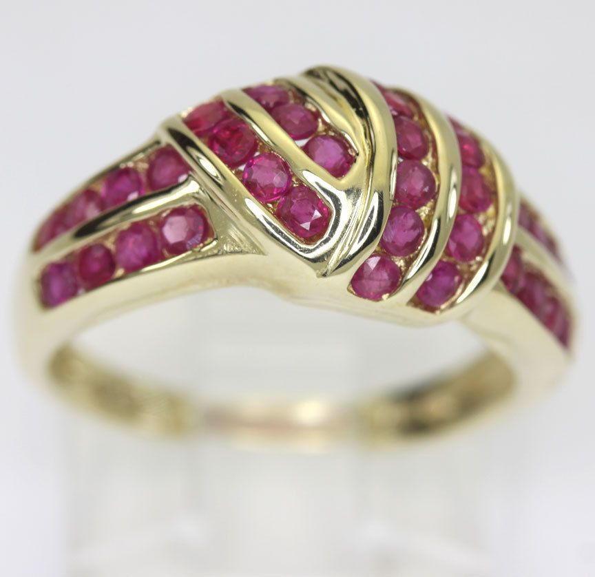 Ruby ring 14K yellow gold multi channel rows 34 rounds .35CT overlap abstract!!