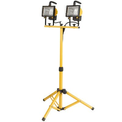Commercial Electric Work Light Globe Electric Company 500W Twinhead Halogen Yellow Work Light