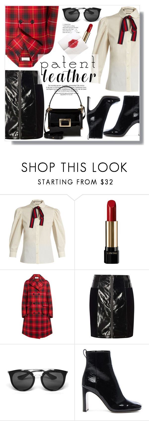 """City Slickers: Patent Leather"" by yoo-q ❤ liked on Polyvore featuring Gucci, Lancôme, Dorothy Perkins, Prada, rag & bone, Roger Vivier, patentleather and contestentry"