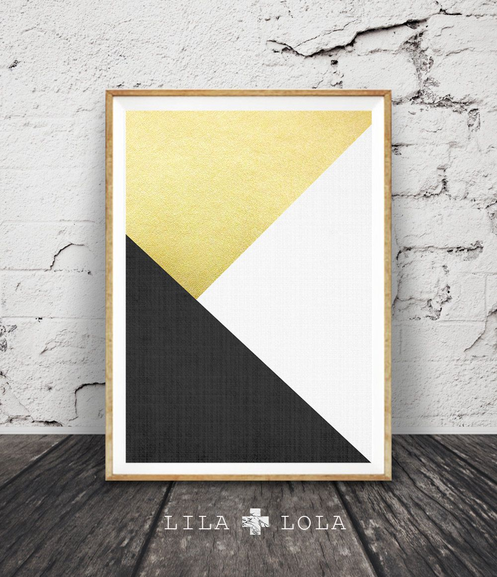 Black White and Gold Print Abstract Art Geometric by lilandlola ...