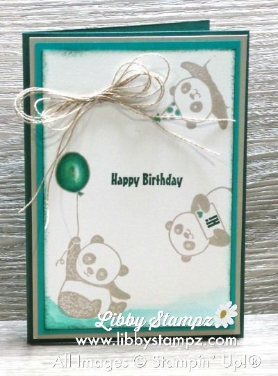 Party Panda Challenges. Made for Colour Inkspiration #26 Challenge and WWYS #154. Uses party Panda, Tranquil Tide, Emerald Envy, Bermuda Bay, Sahara Sand and Whisper White with a Multi-loop bow of Linen Thread