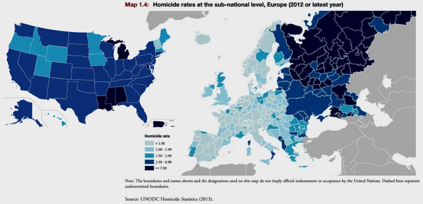 Homicide rates in Europe and the US. Related: Homicide rates around the world at the sub-national level