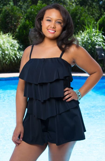 f5d0bf6c11 The V Tiered Romper  402112 is a new concept in plus size swim that Fit 4U  has graciously brought to us for 2014. This plus size one piece romper has  the ...