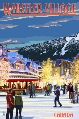 Village Scene - Whistler, Canada - Lantern Press Poster