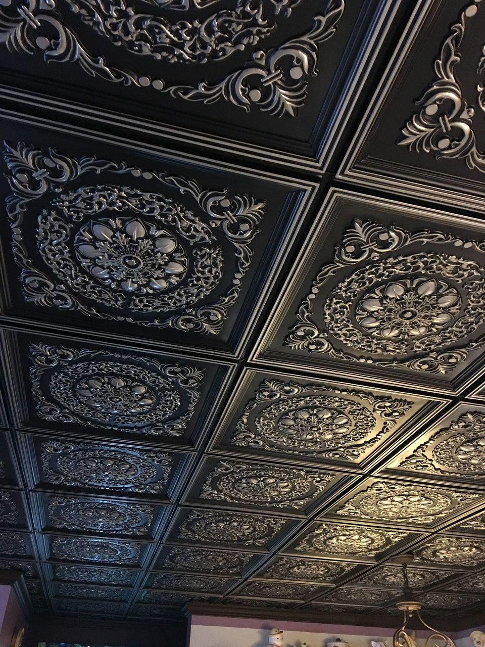 Mumbai Faux Tin Ceiling Tile 24 In X 24 In 247 Faux Tin