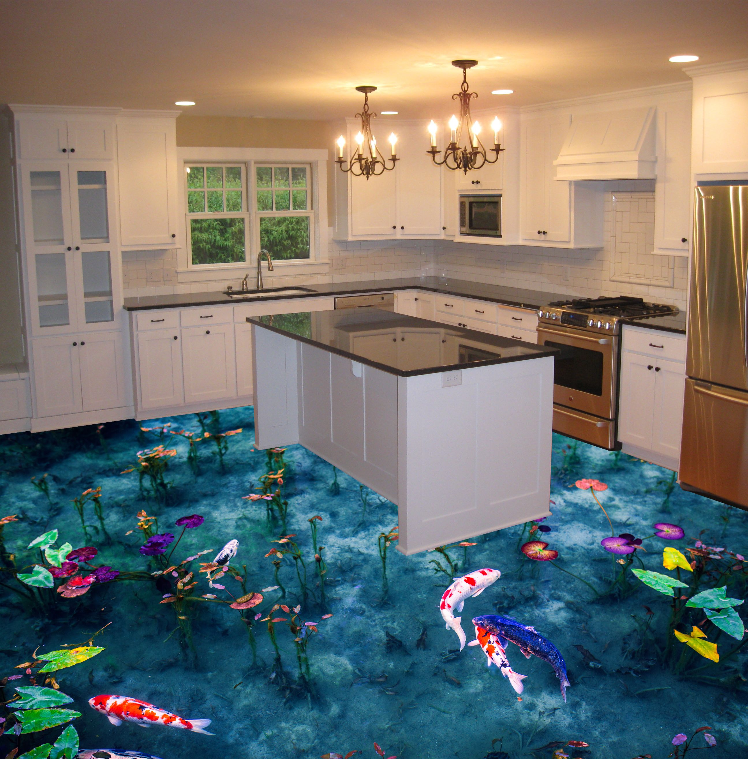 3d epoxy flooring for kitchen koi fish pond theme Epoxy