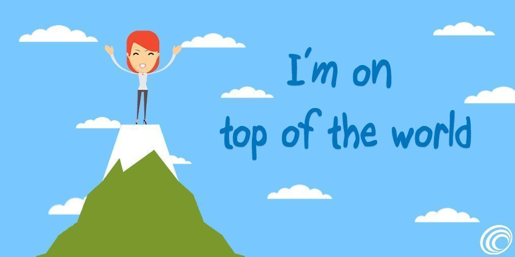 """Sabe quando você está muito #feliz? Se sentindo #incrível? Em #inglês podemos dizer que estamos """"on top of the worl http://bit.ly/2onISEG"""