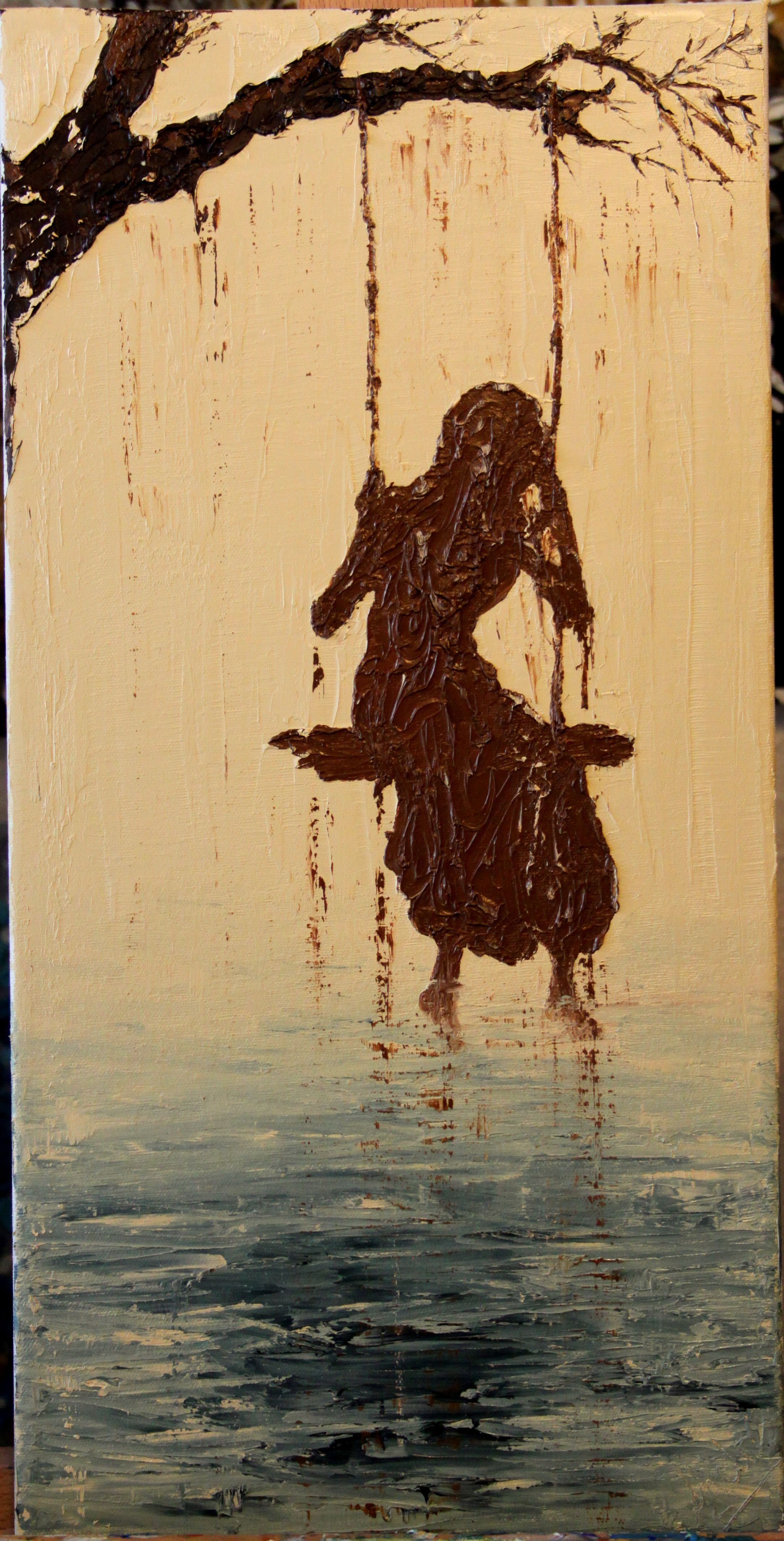"SOLD  Fully Clothed- Proverbs 31:25  Original Oil Painting on Canvas   10""x20""  www.ShalonGriffith.com"