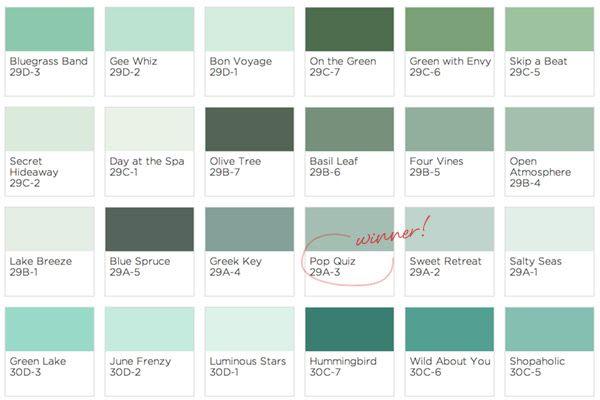 Pop Quiz Paint Color Paint Color Chart Paint Colors Green Paint Colors