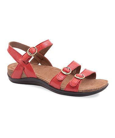 Another great find on #zulily! Red Crackle Janis Leather Sandal - Women #zulilyfinds
