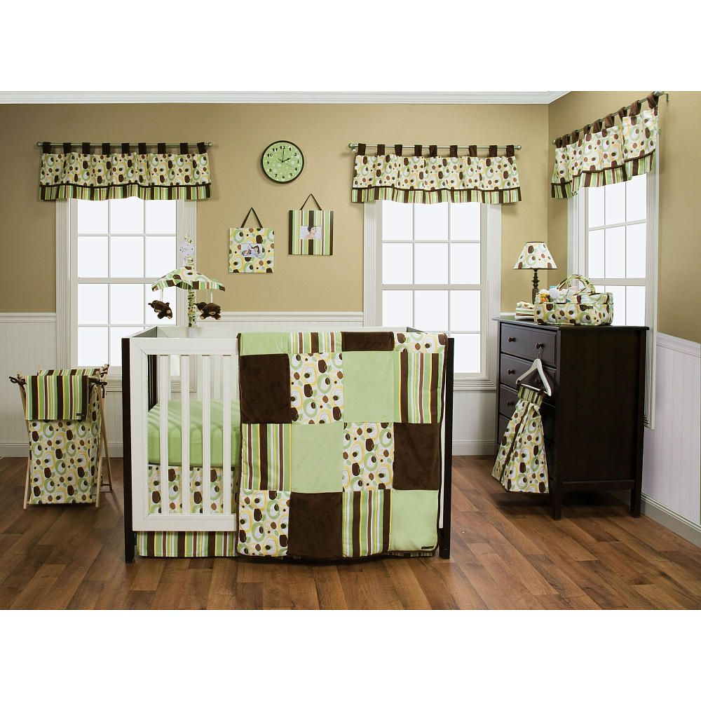 trend lab giggles 6 piece crib bedding set green brown trend lab babies r us baby. Black Bedroom Furniture Sets. Home Design Ideas