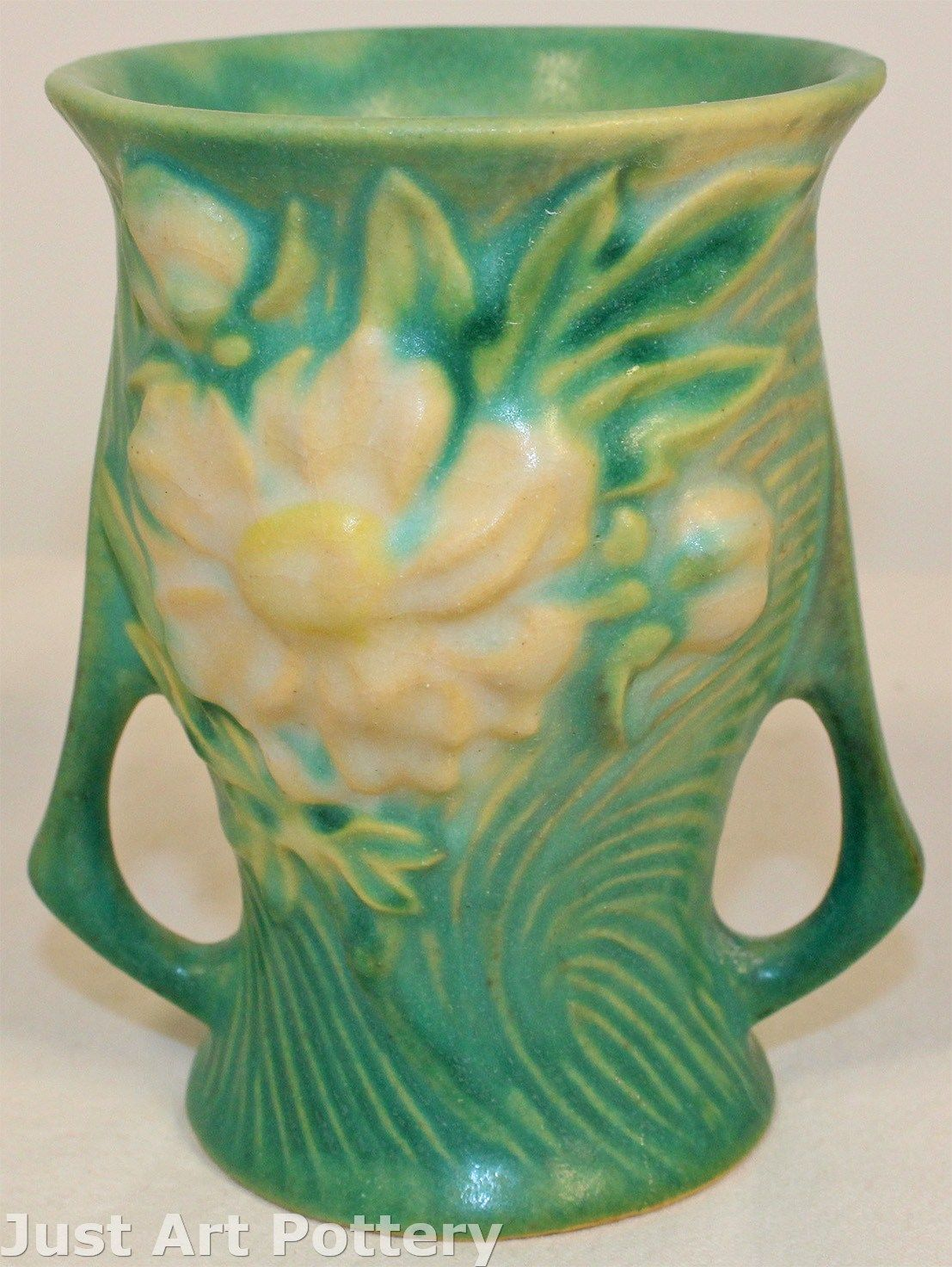 Roseville Pottery Peony Green Vase 57-4 from Just Art Pottery