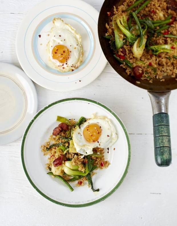 Bill Granger recipe: Stir-fried brown rice with chorizo, greens and fried egg