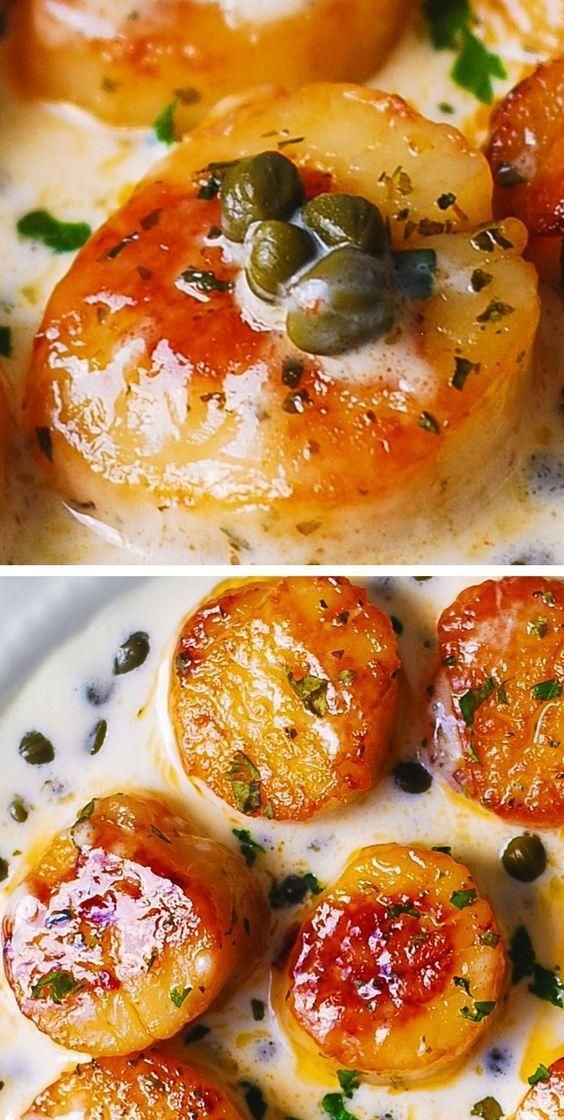Seared Scallops with Creamy Caper-Lemon Sauce  - Pins - Recipes - #CaperLemon #Creamy #Pins #recipes #Sauce #Scallops #Seared