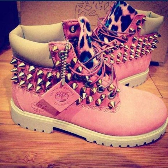 shoes boots, timberlands, womens, pink, studded, cheetah