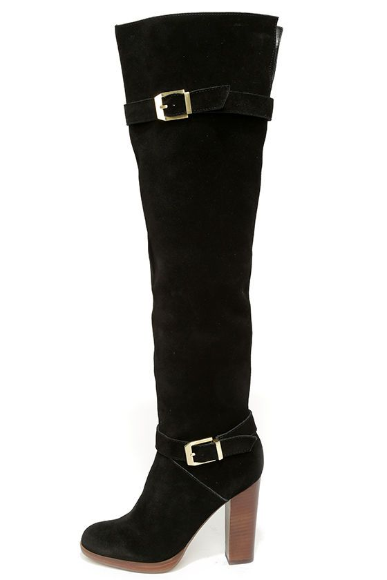 646a16c4300 In Style Fashion Trends in Dresses   Shoes for Women. Report Signature  Lipton Black Suede Leather Over the Knee Boots at Lulus.com!