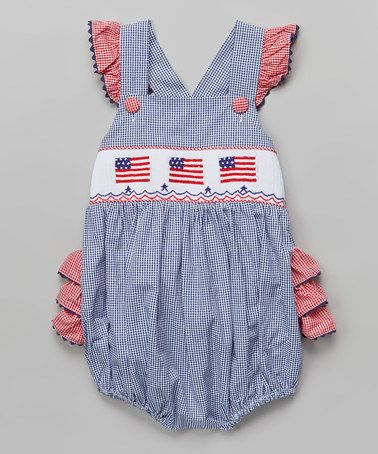 29955cf14 Love this Navy Flag Smocked Ruffle Bubble Bodysuit - Infant & Toddler on # zulily! #zulilyfinds