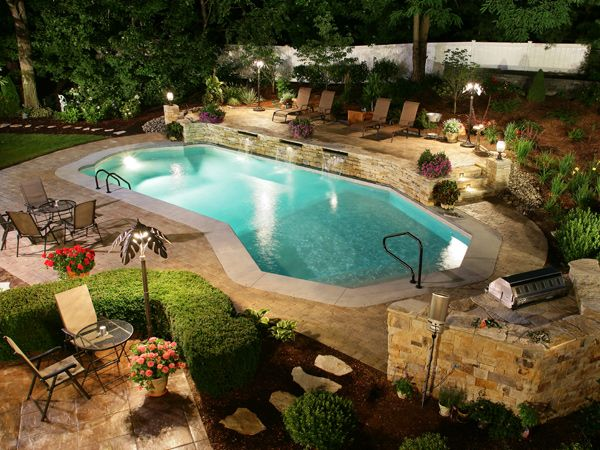 Pacific Pools Lazy L Roman End Style Pool Latham   Beautiful Backyard Pool  Images   Picture Search