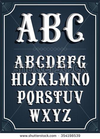 Elegant western slab serif signboard 3D font white letters
