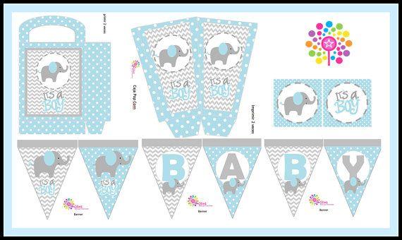 Baby Elephantprintable Party Set Diy Digitalparty T