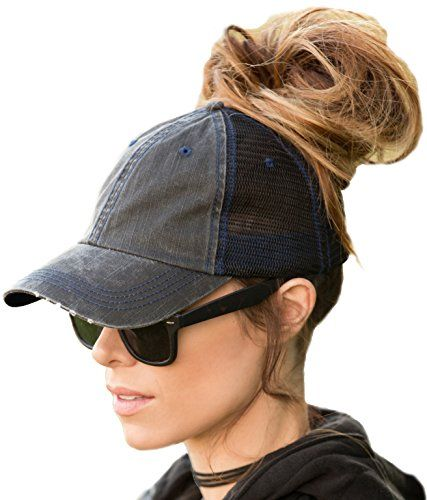 27a16b349dc175 Buy BOEKWEG The Original Ponytail Hat. Fashionable hats made for ponytails.  (Distressed Black/Mesh): Shop top fashion brands Baseball Caps at  Amazon.com ...