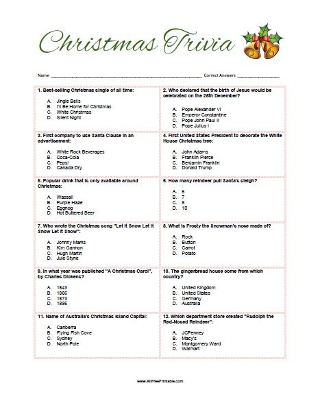 Juicy image in printable christmas trivia