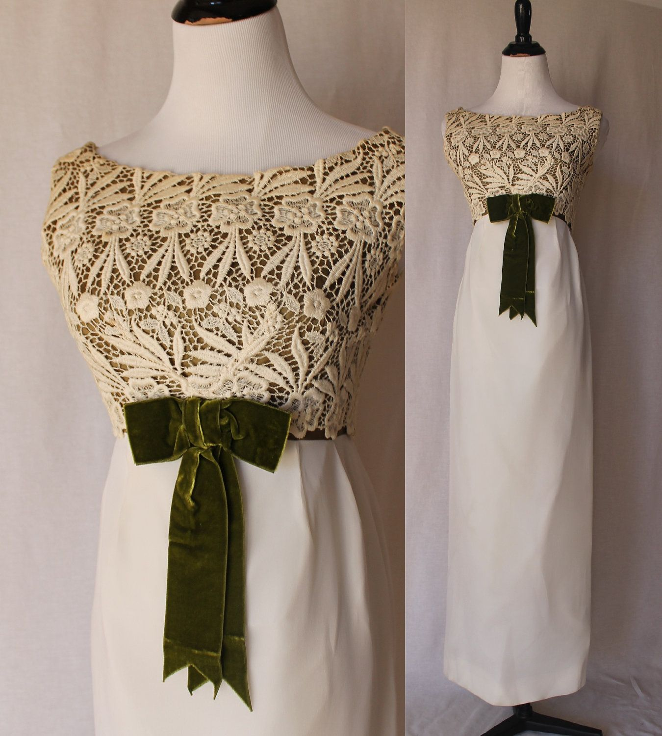 S ivory green formal vintage gown dress via etsy