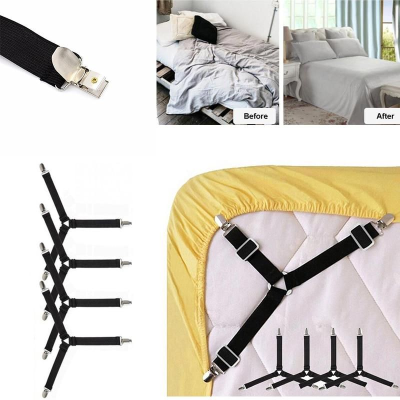 4pcs Set Adjustable Bed Sheets Holder Fitted Sheet Clip Bed Tablecloth Curtain Sofa Cover Mattress Cover Straps Supply Drop Ship Fitted Bed Sheets Adjustable Beds Bed Sheets