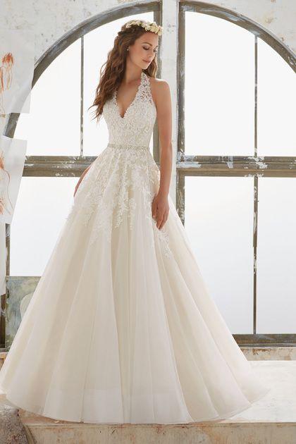 2017 Organza Halter Y Espalda Abierta Con Apliques Vestidos De Novia De Una Linea Us 289 99 Vep1megbg5 Halter Top Wedding Dress Wedding Dresses Bridal Dresses