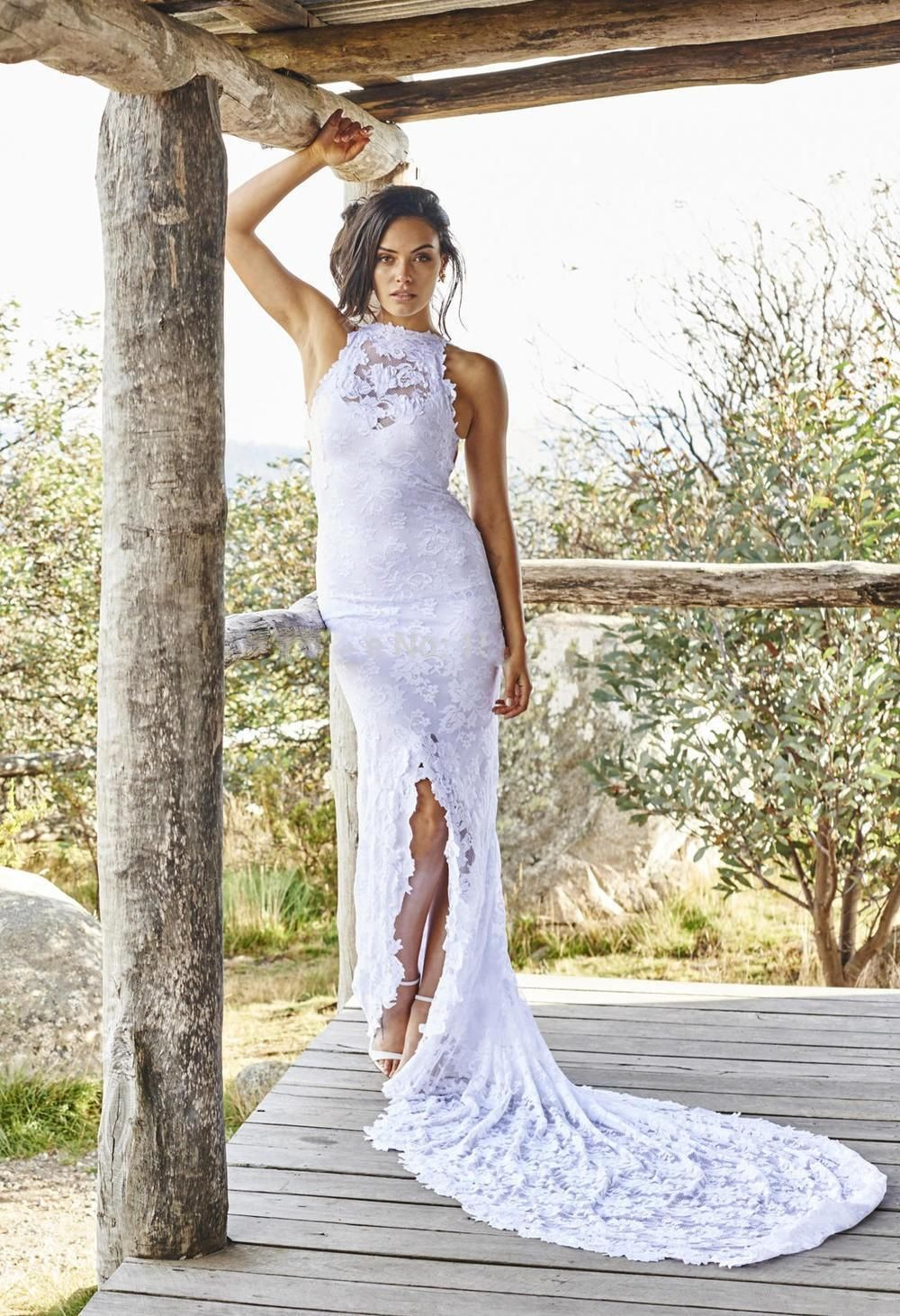 boho lace bohemian wedding dresses front split beach court