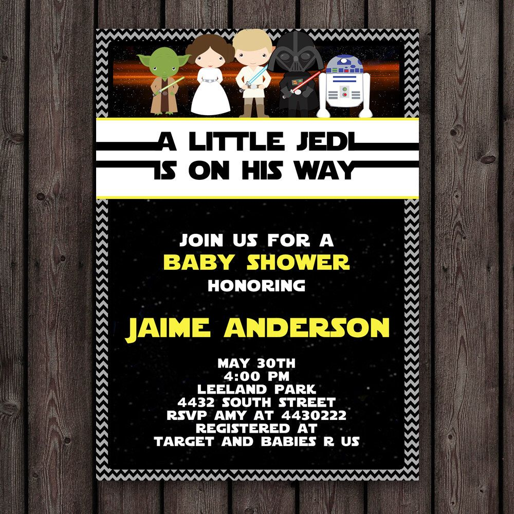 Star Wars Baby Shower Invitation Customized Wording Included Printable Theme
