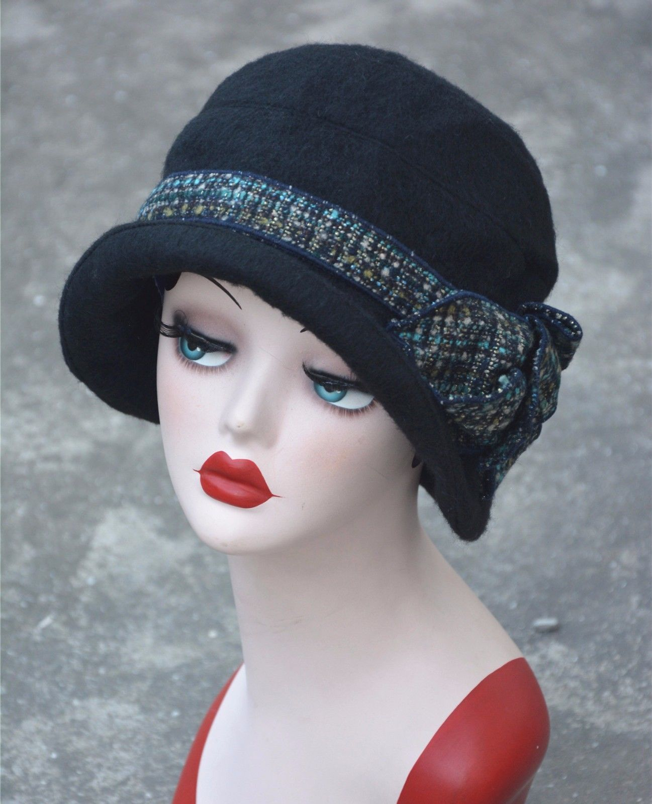 Womens Gatsby 1920S Vintage Style Flapper Cloche Downtown Abbey Wool Bucket  Hat c81640a1bed0