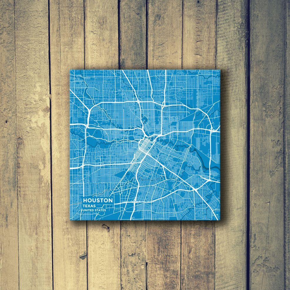 Houston Chicago Map%0A Gallery Wrapped Map Canvas of Houston Texas  Subtle Blue Contrast  Houston  Map Art