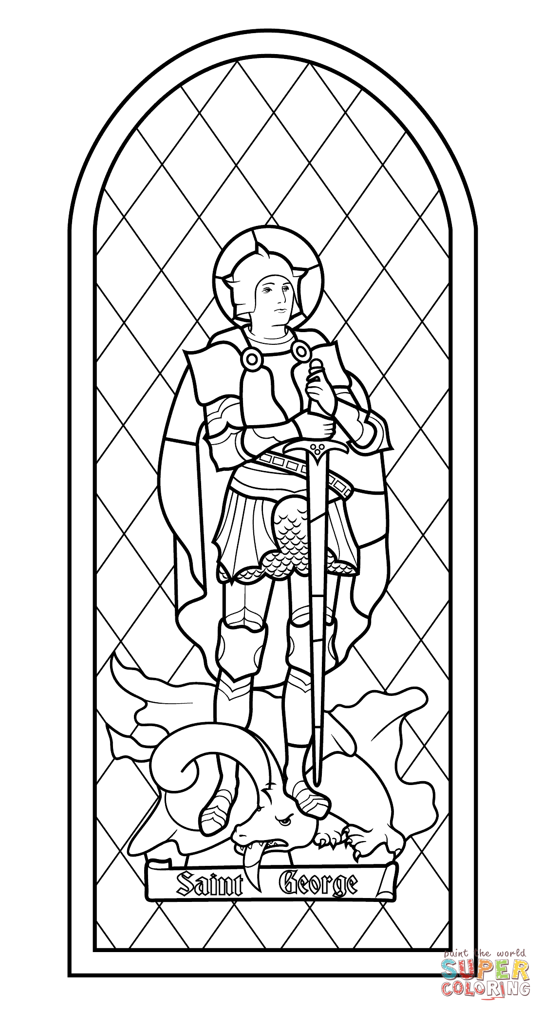 Saint George Stained Glass Coloring Page Free Printable Coloring Pages Medieval Stained Glass Saint George And The Dragon Coloring Pages