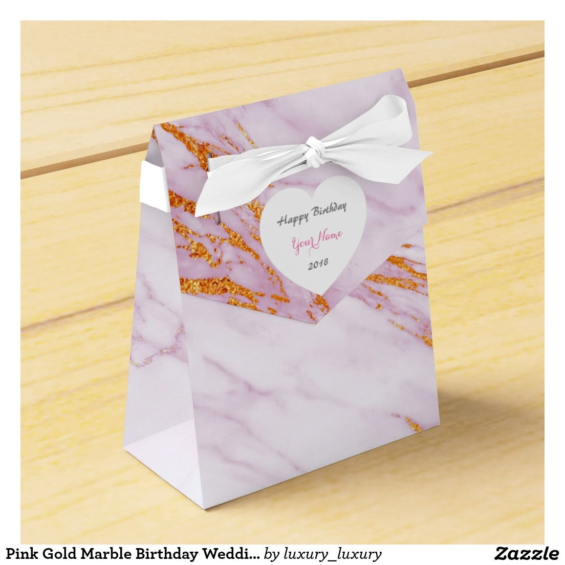 Pink Gold Marble Birthday Wedding Favor Favour Boxes | Pinterest ...