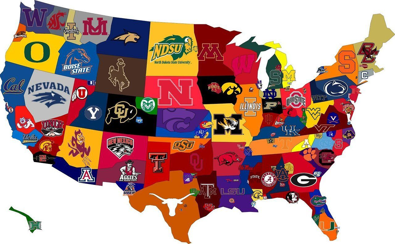 Maps On The Web Map Of Colleges Dominance In The US IOWA IN - Us map of d1 colleges