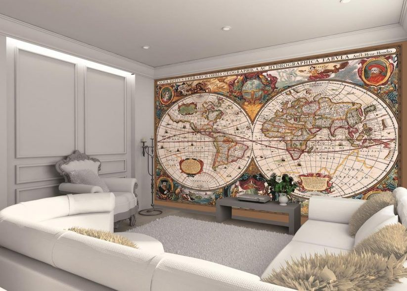 Living room globe of the world map wall murals classic living room globe of the world map wall murals classic multicolor giant world wall interior design plant decor luxury furniture set in white leather gumiabroncs Choice Image