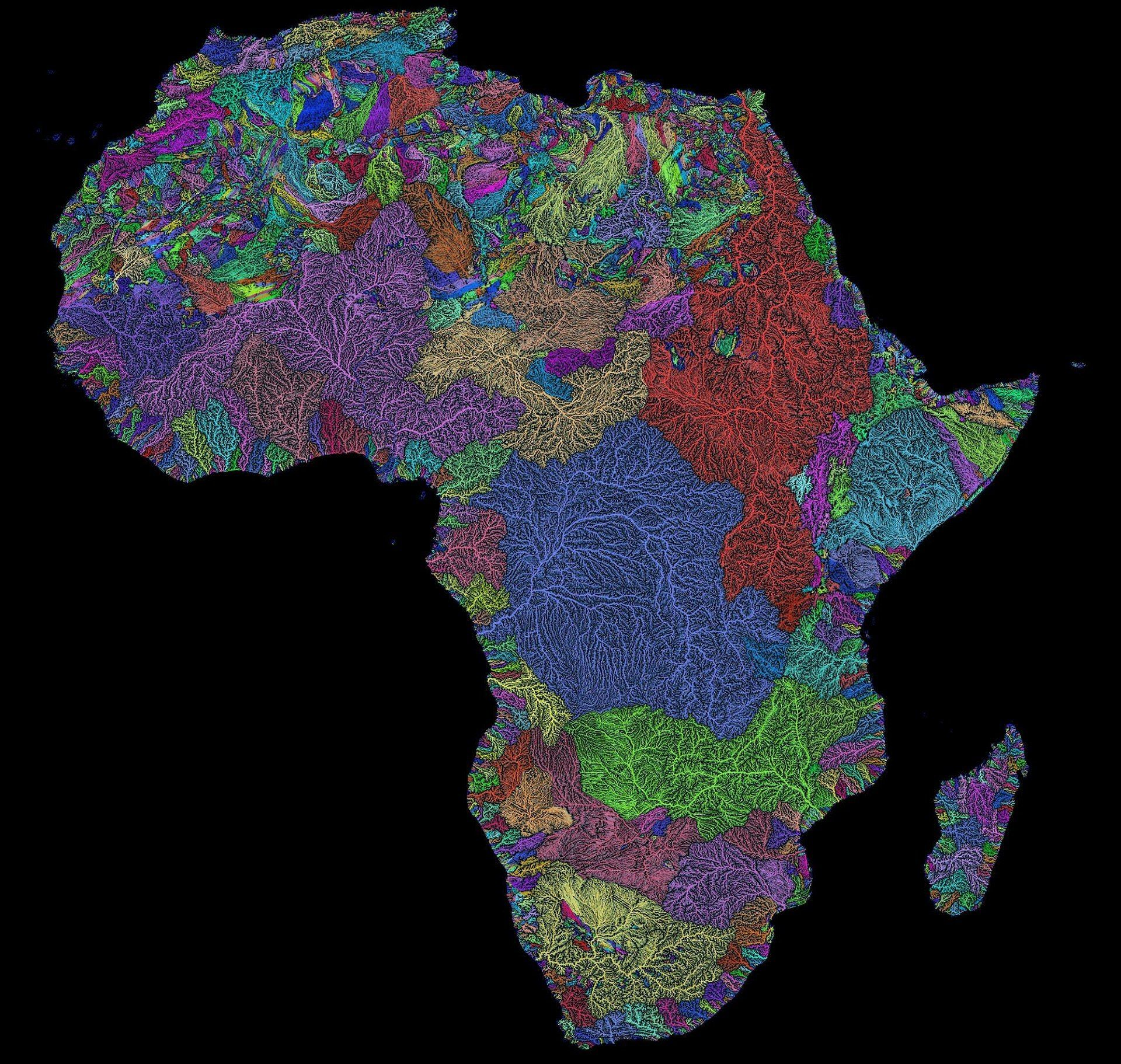 River Basins of Africa in Rainbow Colours