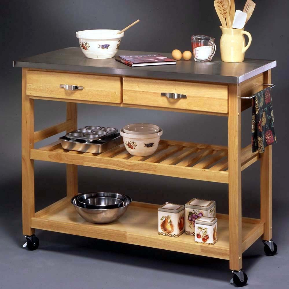 Stainless Steel Top Kitchen Cart Storage Island Rolling Butcher Block Table