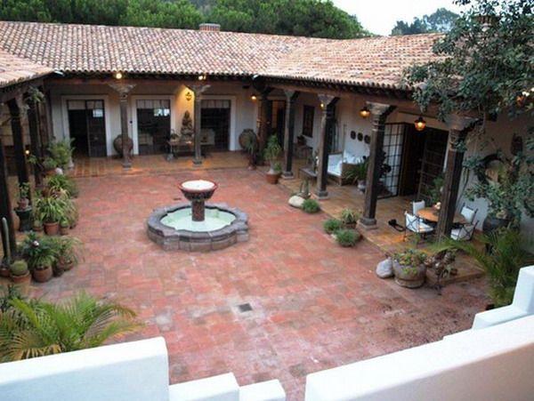 Colonial Patio Exterior Con Agua De La Fuente Ideas