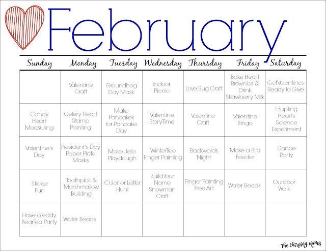 February Printable Activity Calendar for Kids February - activity calendar