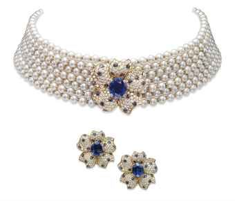 A set of sapphire diamond and cultured pearl jewellery for Diamond pearl jewelry sets