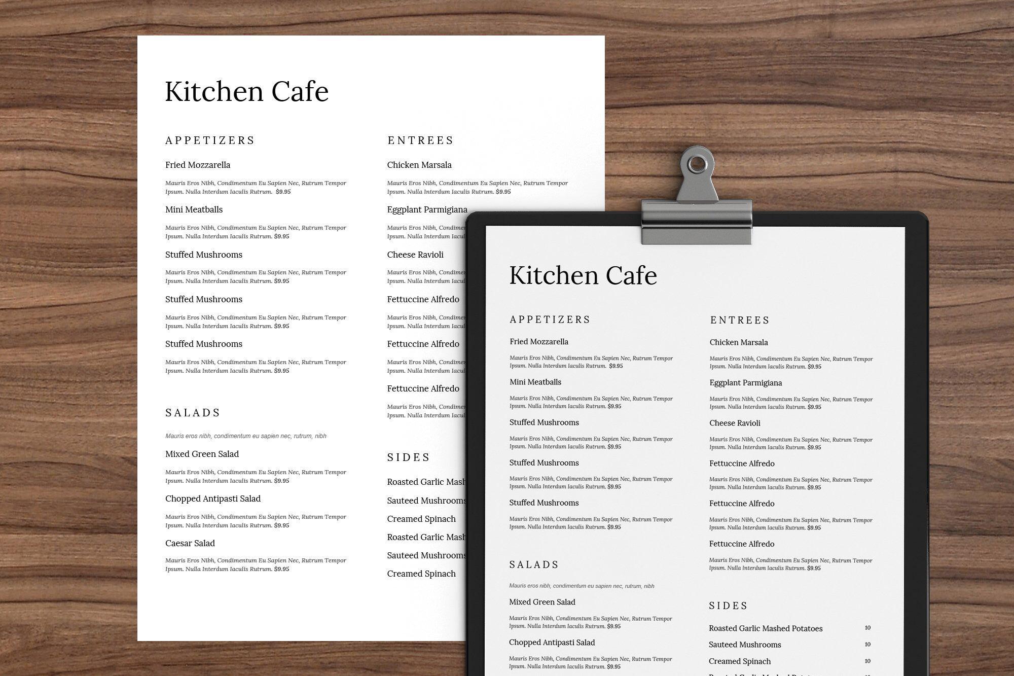 minimal word menu restaurant menu template restaurant menu menu
